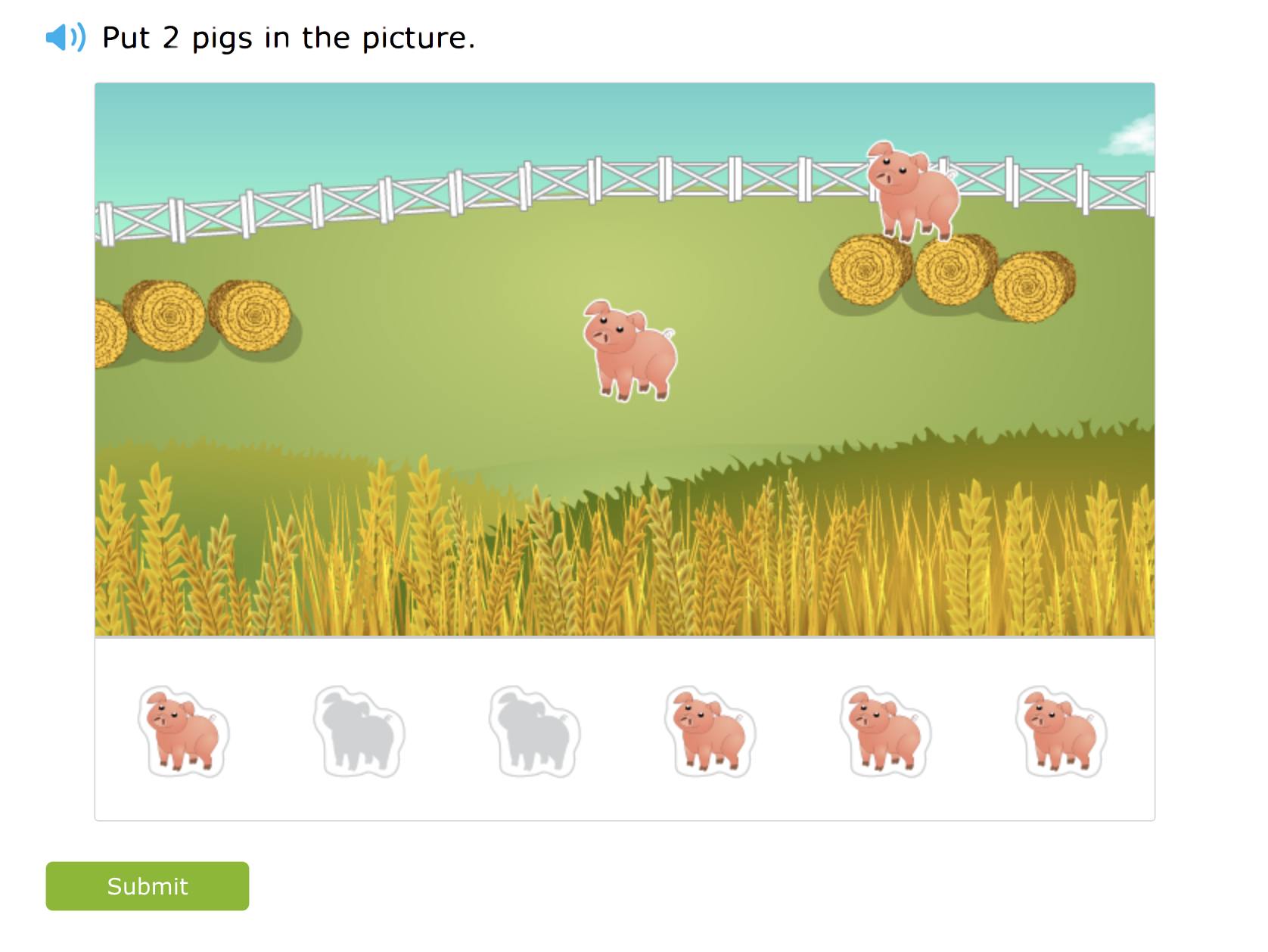A screenshot from the redesigned skill that asks students to count by placing stickers onto a background