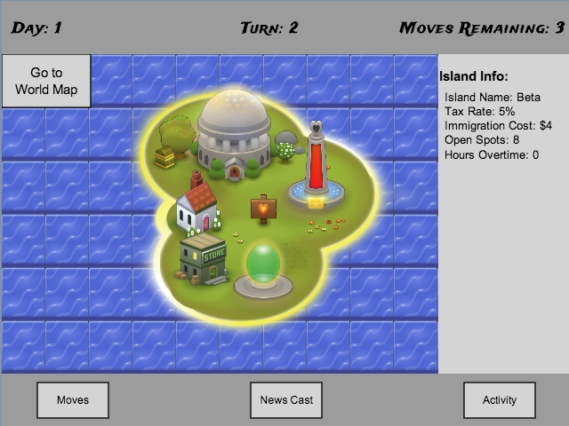Game Player Screen (Island View)
