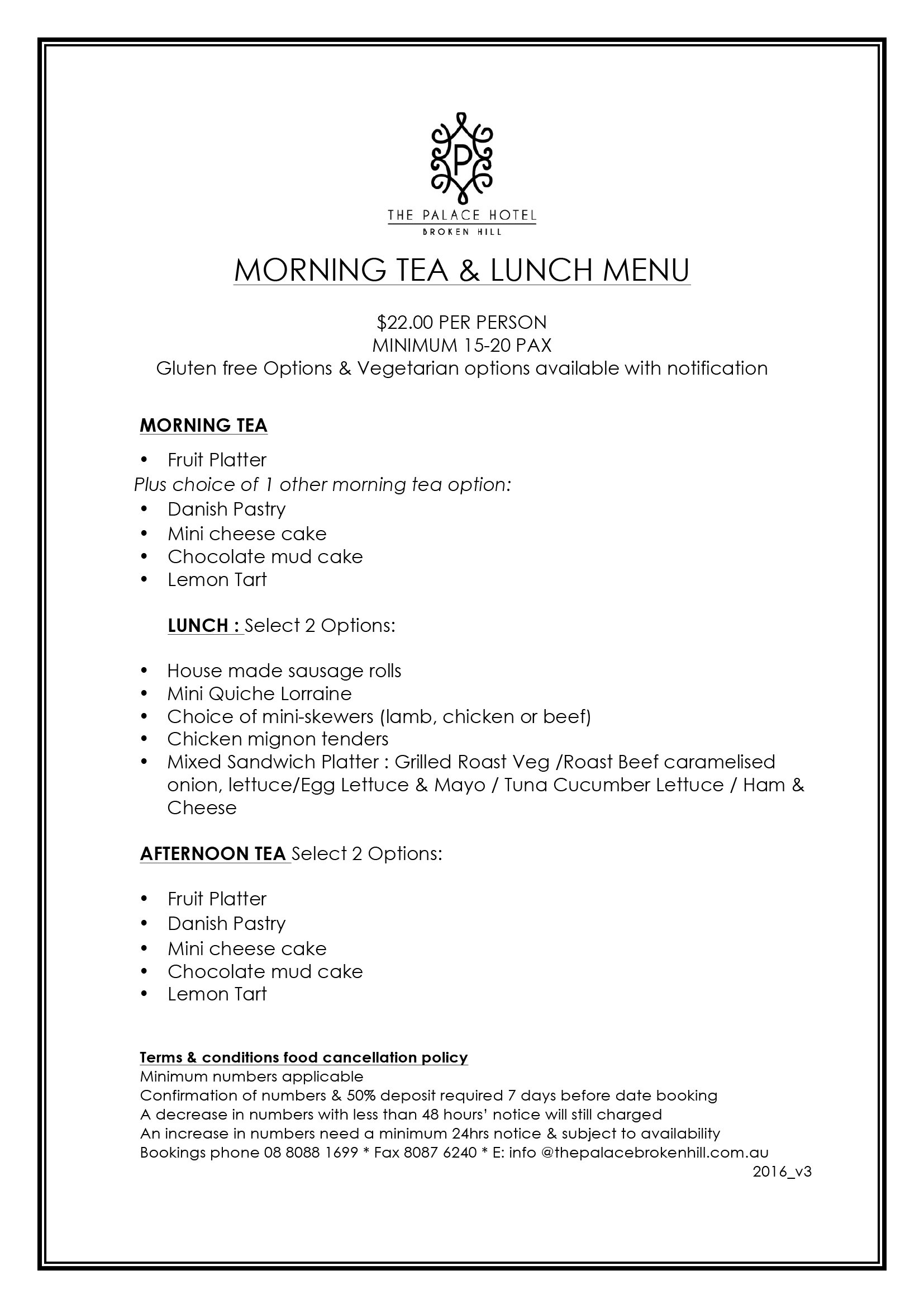 Morning tea and lunch options