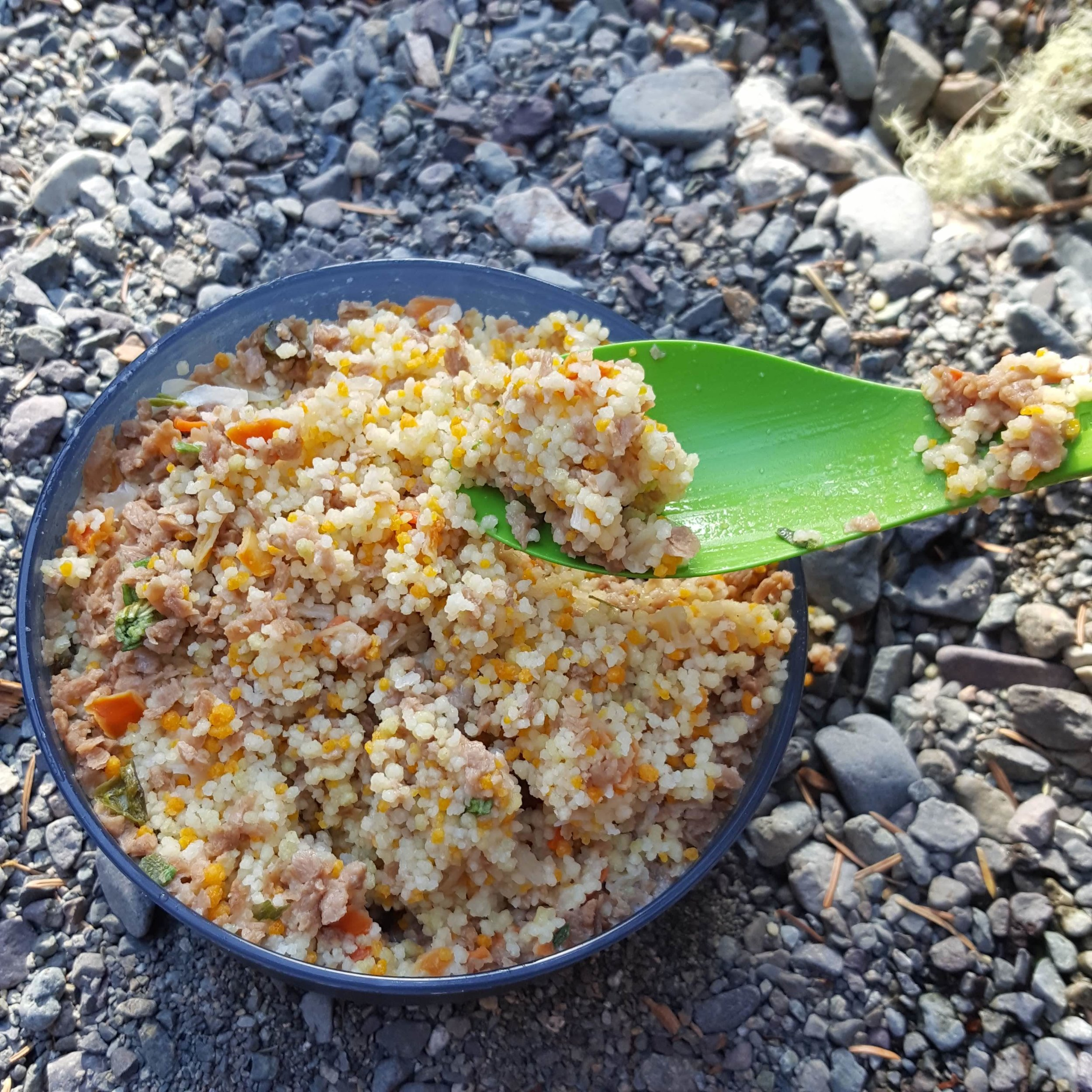 """On the menu: Couscous - I can't believe how easily they cooked.  Add water, soak for 4min dinner is served.  It only works with the tiny couscous though, not the bigger """"pearl"""" ones"""