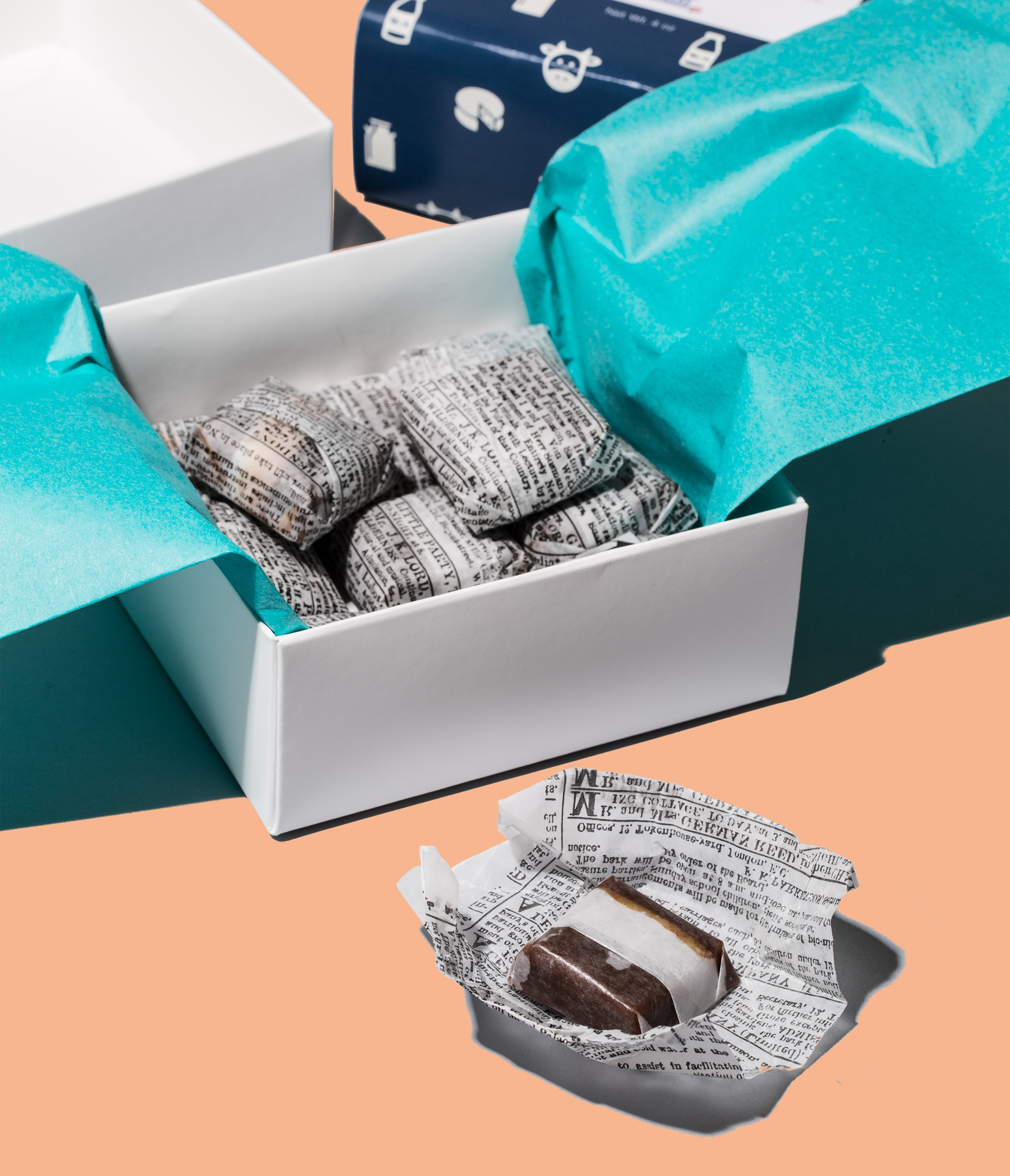 cheese caramels wrapped open box