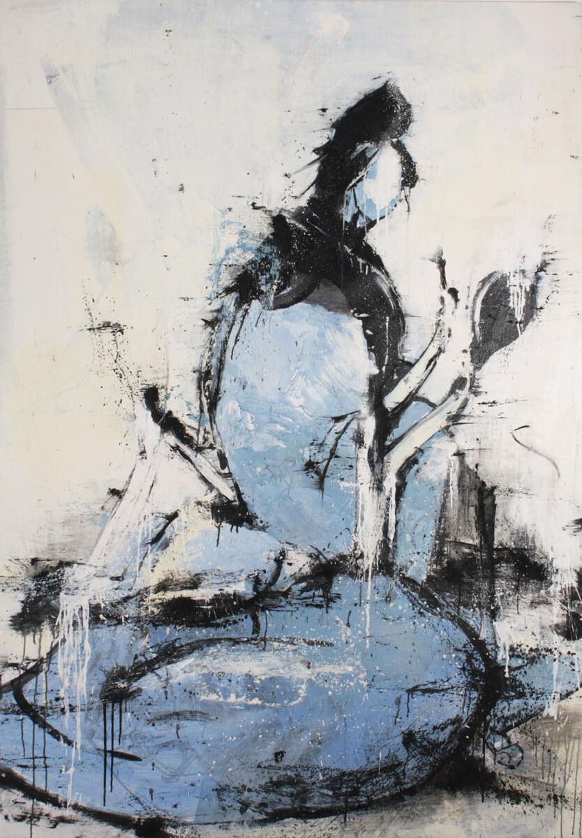Geisha blue, 2015, oil on canvas, 200x140 cm
