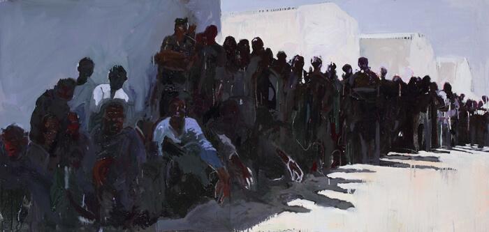 L'attesa, 2016, olio su tela, 70x150 cm