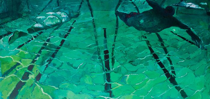 Nuotatori, 2013, olio su tela,120-x-260 cm