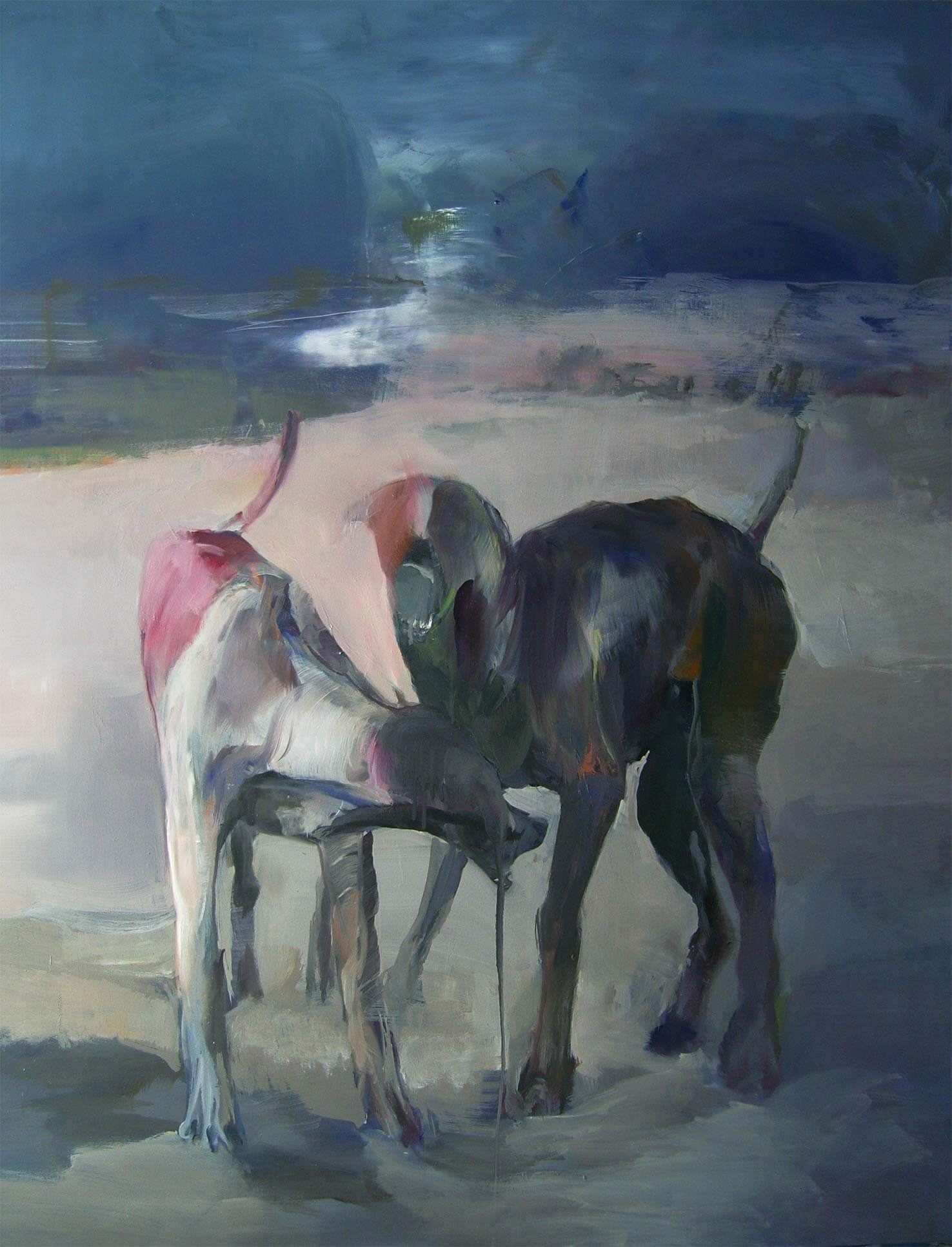 Two dogs, the moon and the leviathan. Luna 3, 2016, olio su tela, 120x100 cm