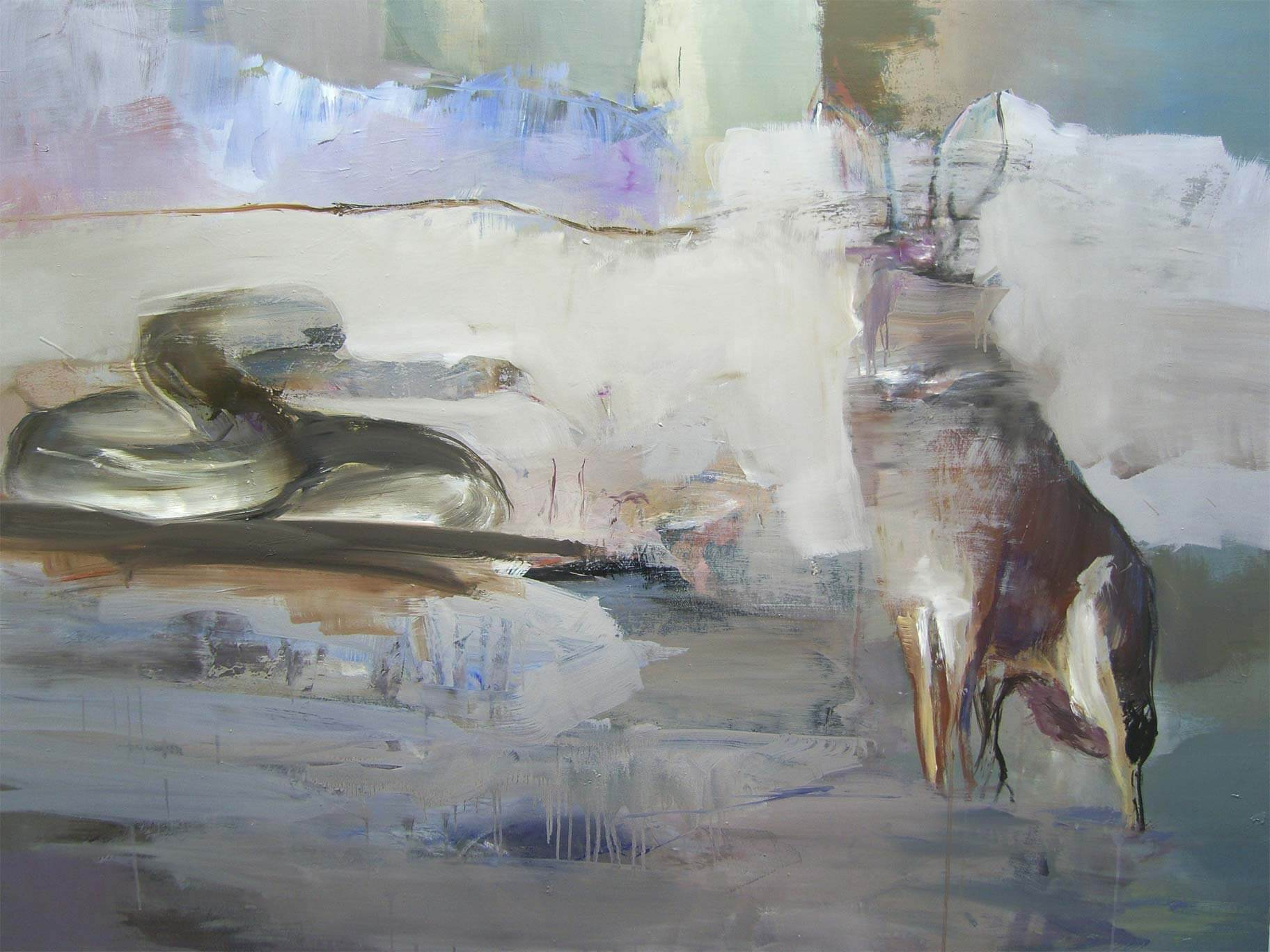 Second interaction between rabbit jack, snake plissken and the primal garden, 2016, olio su tela, 120x150 cm