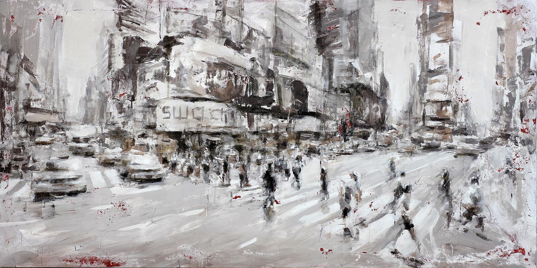 NY the city moves, 2018, acrilico su tela, 100x200 cm
