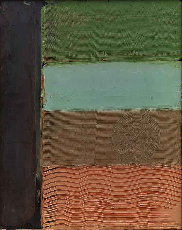Campi e Nero, 1985,  olio su pannello, 50x40 cm