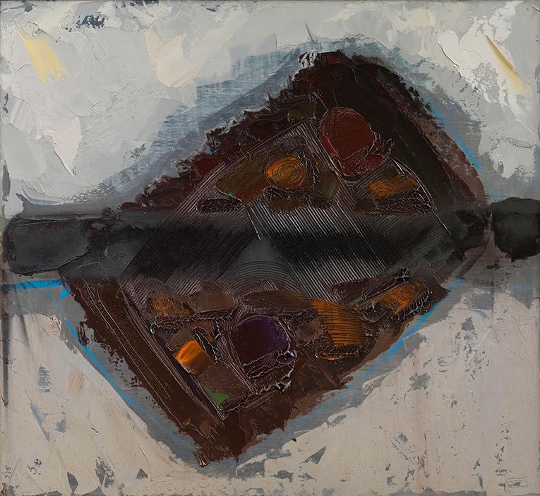 Morte della Terra 8  (dopo Braque), 1983, olio su pannello, 100x110 cm