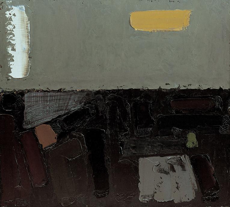 Morte della Terra 4, 1982, olio su pannelli, 100x110 cm
