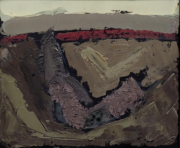 TRENO 1, 1978, olio su legno, 50x60 cm