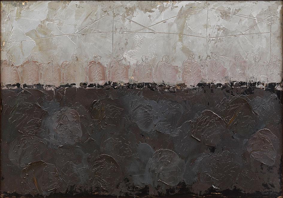 Stazione Calcutta 30, 1976, olio su pannello, 70X100 cm