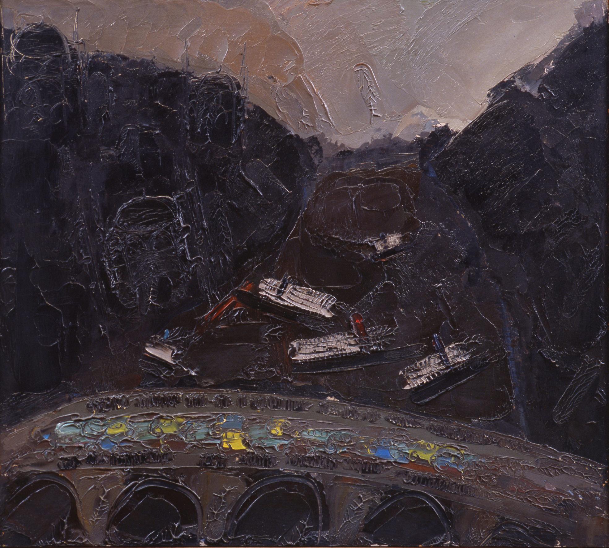 ISTAMBUL 1, 1974, olio su pannello, 84x94 cm