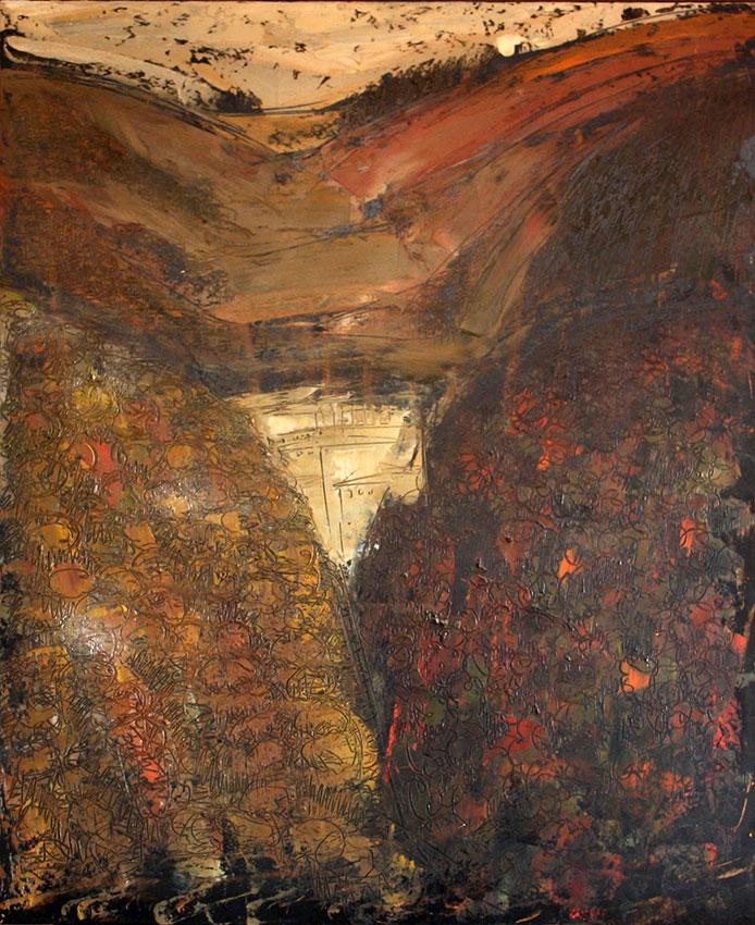 Eremo delle carceri, 1960, olio su masonite, 120x100 cm
