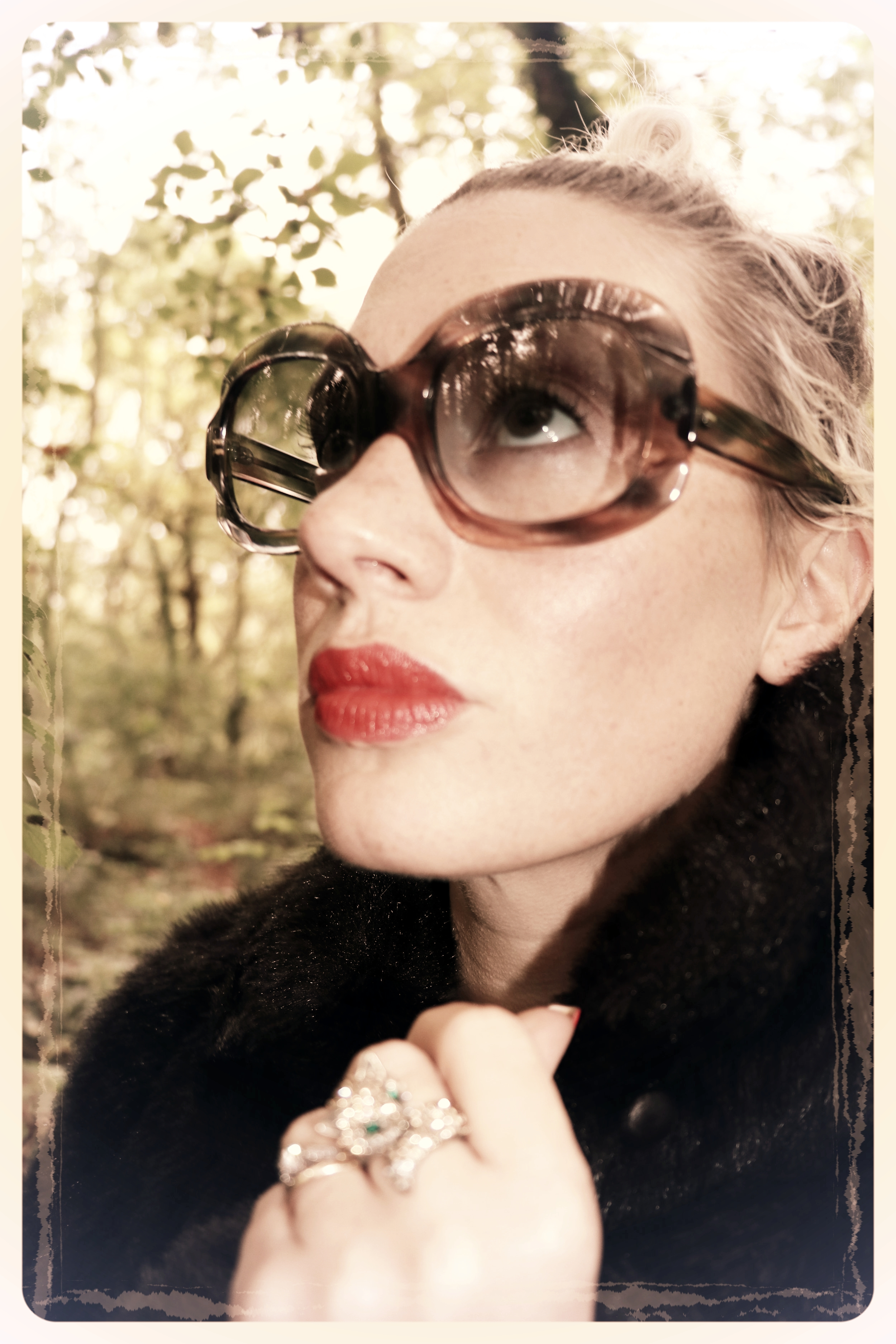 Peep Eyewear, Vintage Sunglasses, 1970s, Carrie, Worn with fur coat, Autumn Winter Collection