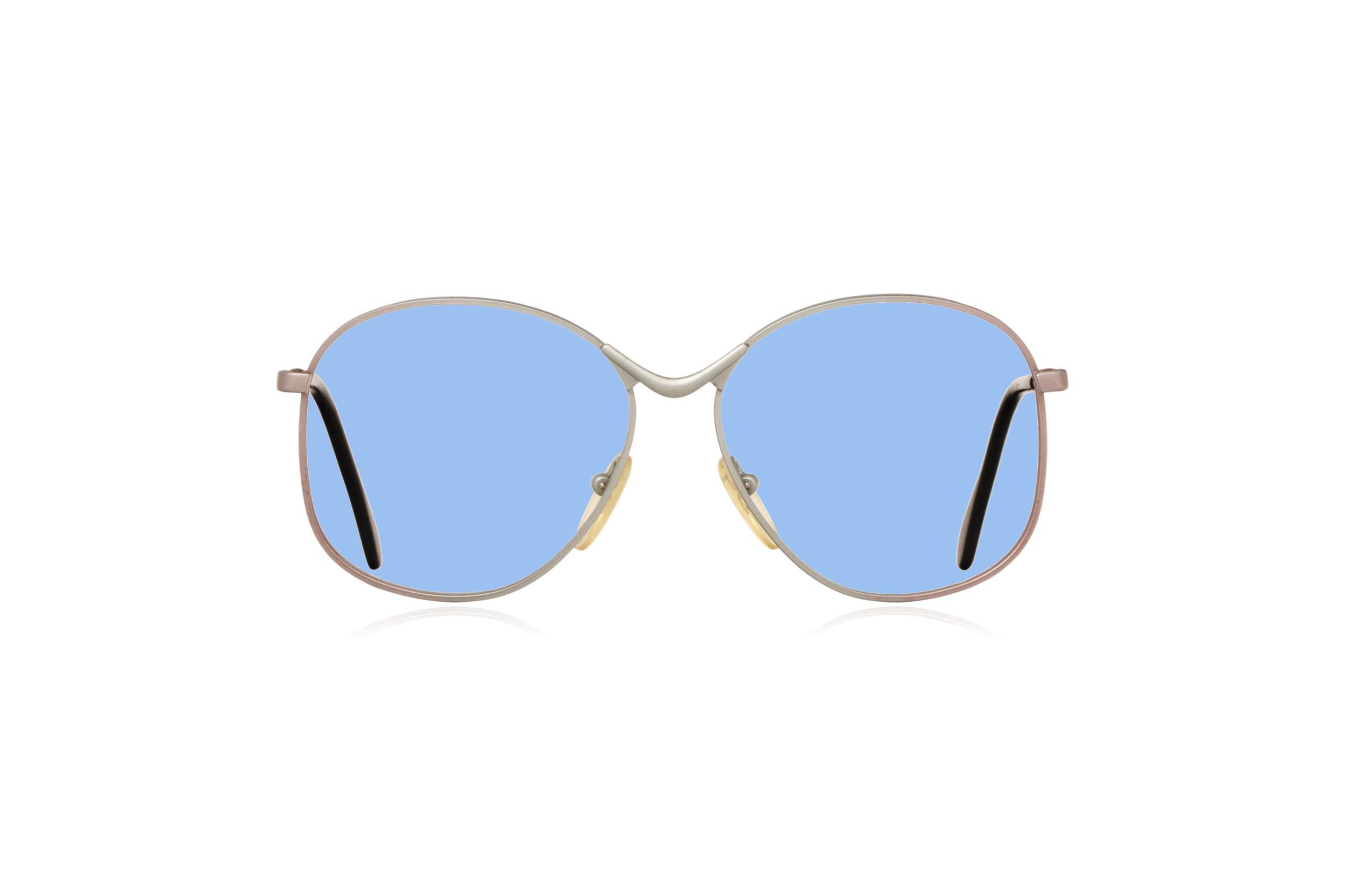 Peep Eyewear, Vintage Glasses, Metal, Silver, Birdie, Front, Blue.png