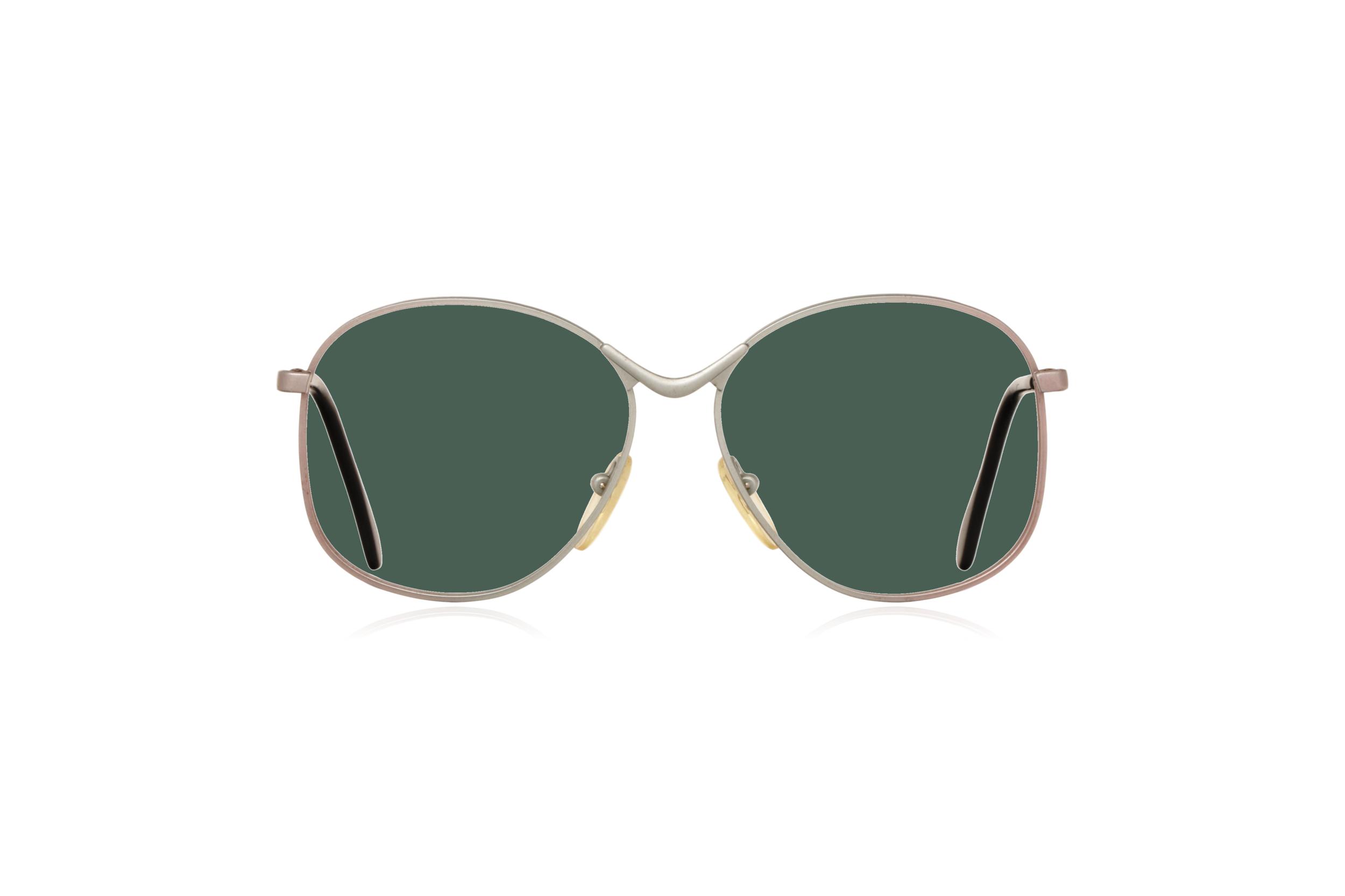 Peep Eyewear, Vintage Glasses, Metal, Silver, Birdie, Front, Green.png
