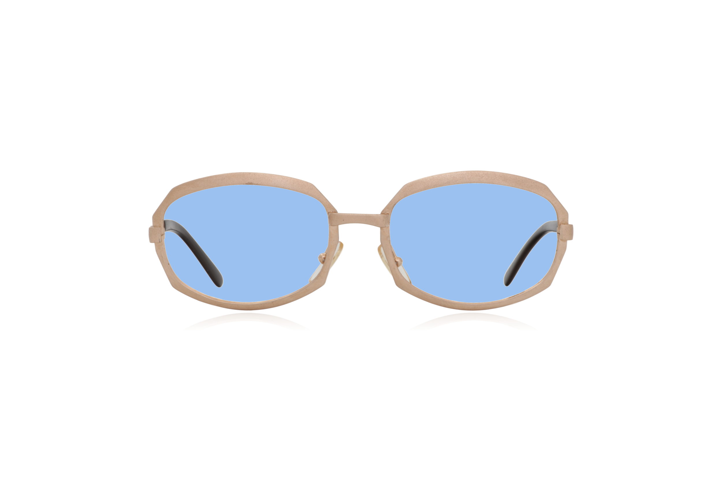 Peep Eyewear, Vintage Glasses, Gold Metal, Vicky, Cahours De Virgile, Paris, Front, Blue.png