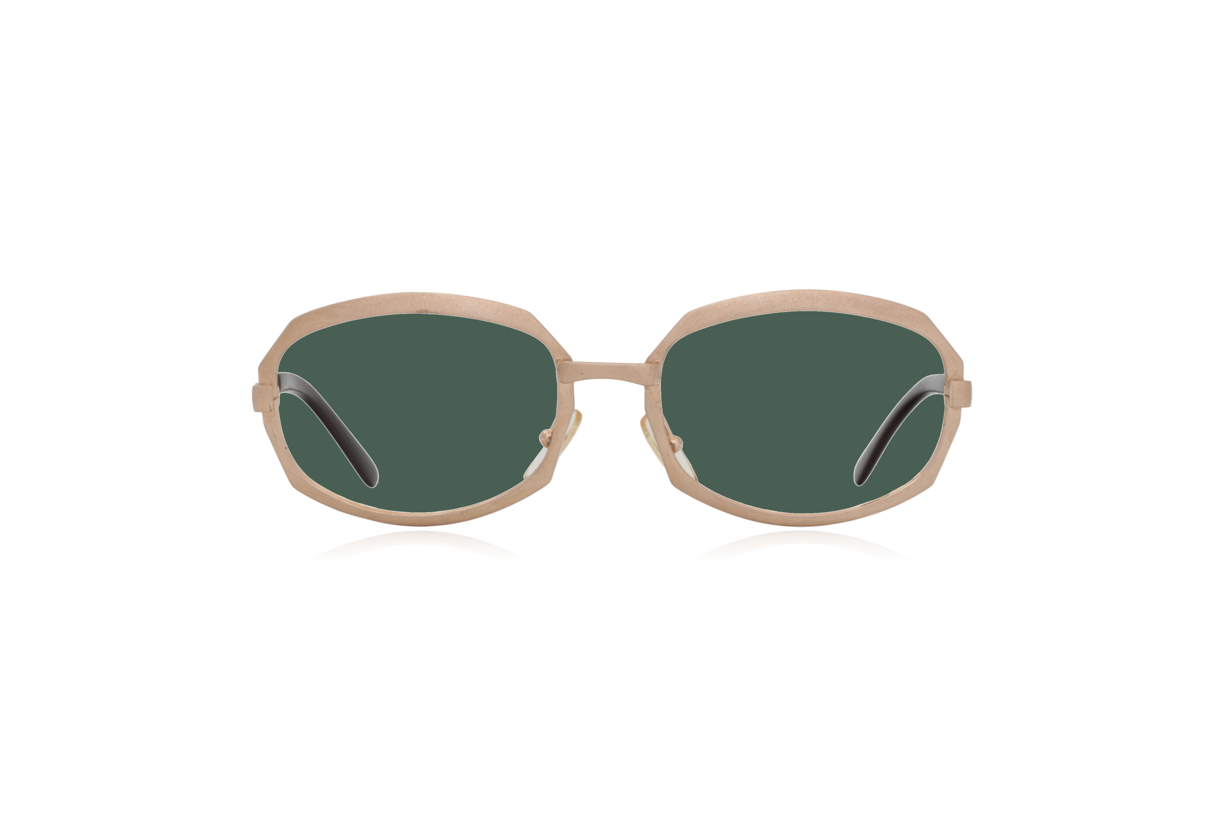 Peep Eyewear, Vintage Glasses, Gold Metal, Vicky, Cahours De Virgile, Paris, Front, Green.png