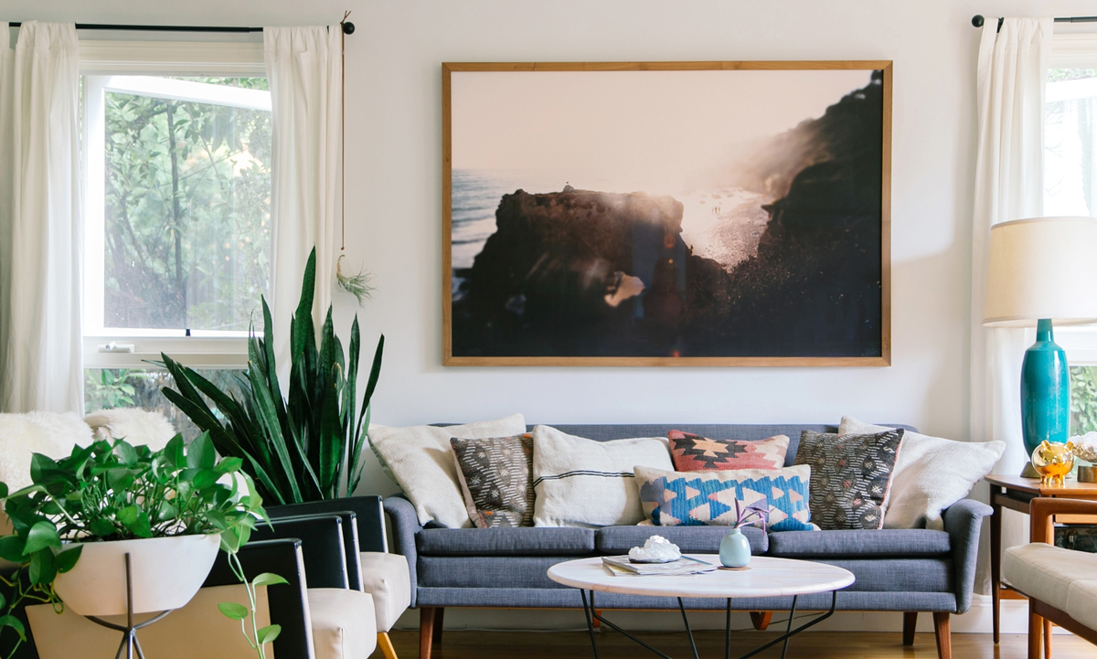 DESIGNER:  Kait Joseph , Kait is a Californian interior designer who specializes in modern bohemian design. Her work is very inspirational! ARTWORK:  Jon Rou
