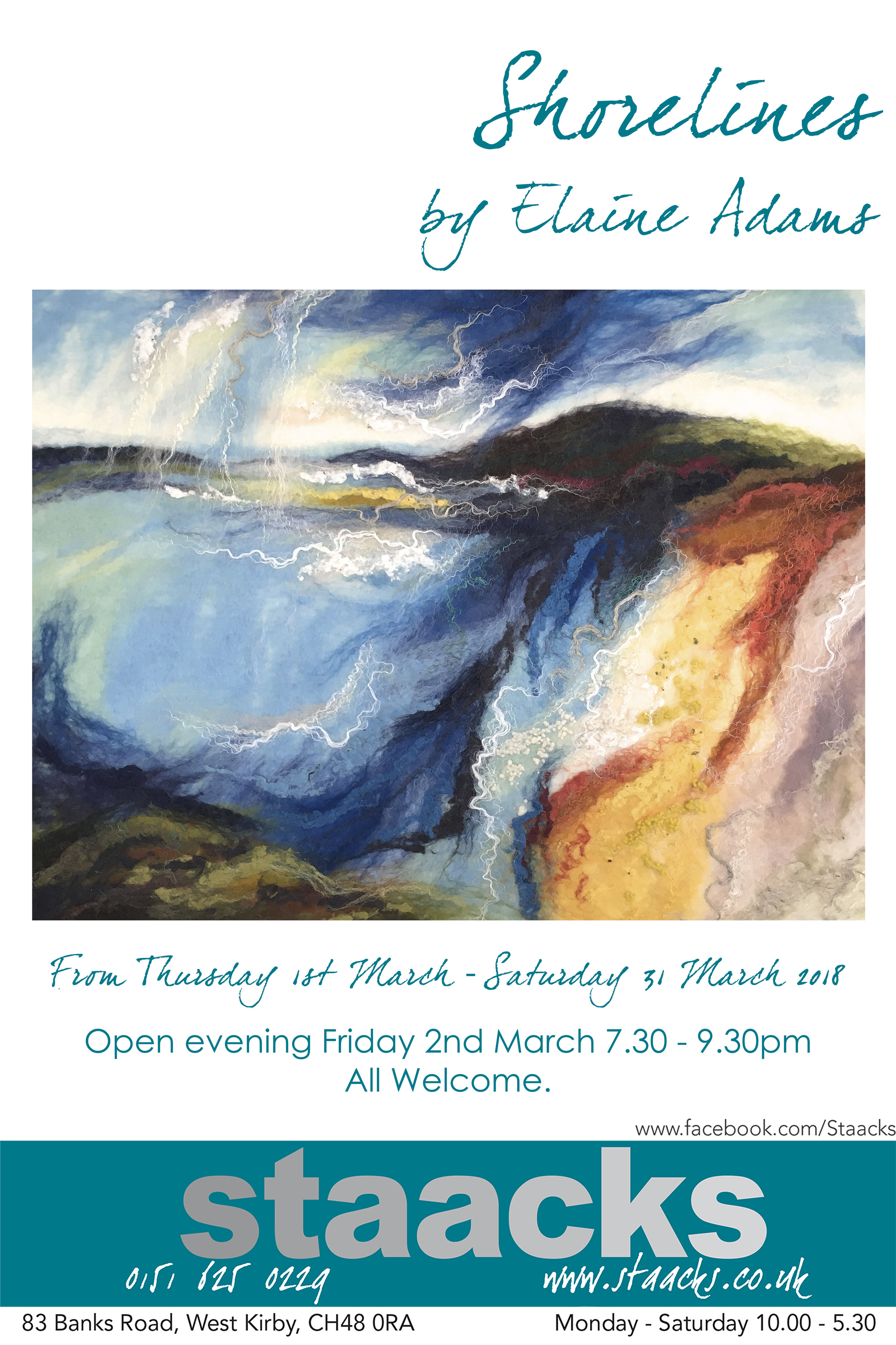 Open Evening - Come along and enjoy the latest work by Elaine Adams, meet the artist and have a glass with us.This stunning work explores the colour and light of our ever changing shorelines and is captured beautifully through the use of textiles.Everyone is welcome.