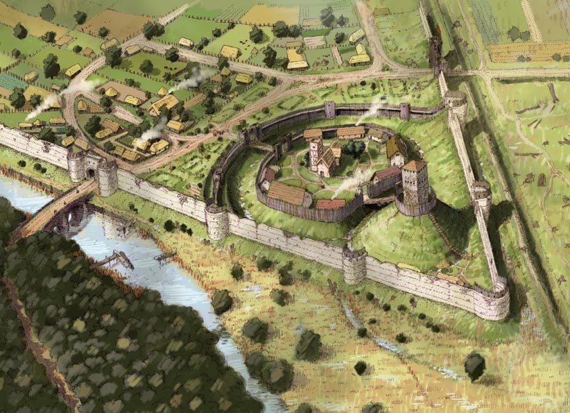 Artist impression of medieval Leicester © Image - John Cook