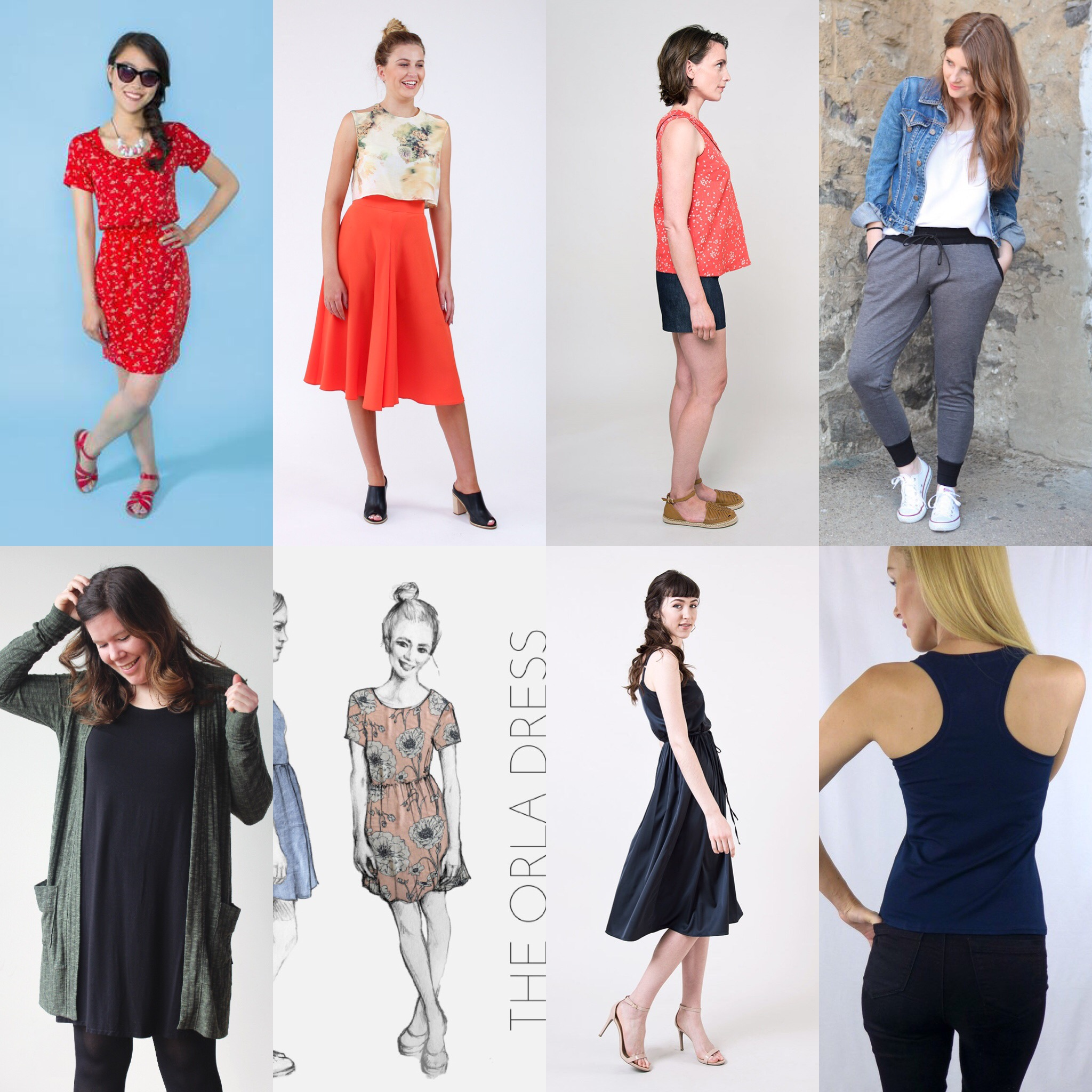 Top Left to Right: The  Bettine  dress, by Tilly and the Buttons;  Tania cullotes , by Megan Nielsen;  Addison  top ,by Seamwork; The  Hudson pants , by True Bias.  Bottom Left to right:  Blackwood cardigan , by Helen's closet;  The Orla dress ,by french navy now;  Catarina dress , by Seamwork;  Rumi Tan k, by Christine Haines.