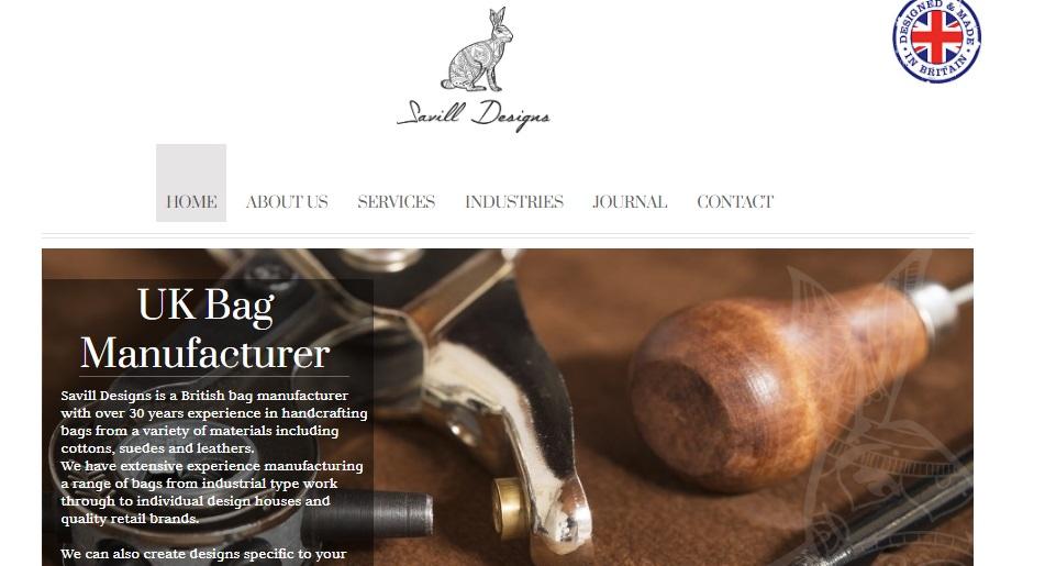 Savill Designs' Website Homepage