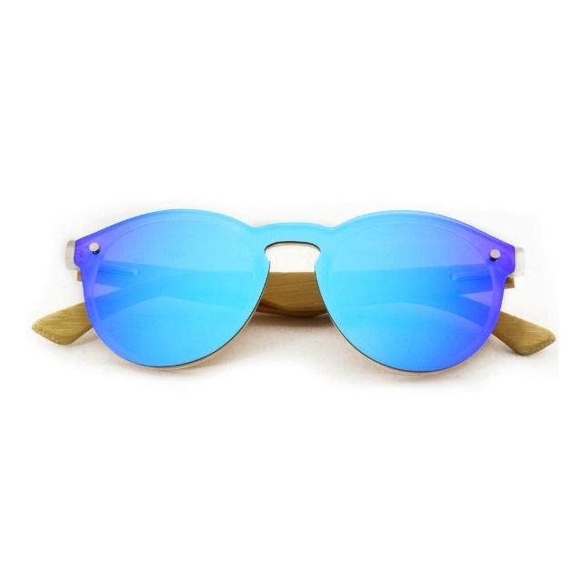 con lentes polarizadas 100%UV400 y varillas hechas a mano de bambú y madera. - Modelo Glam Aviator color azul espejado