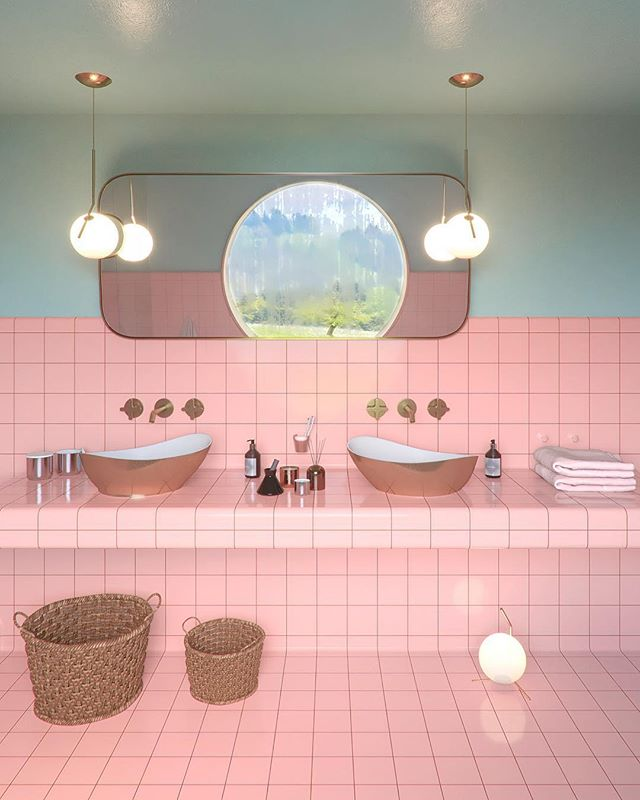 Ensuite bathroom designed (renovated) for a client in Mexico 🇲🇽☀️ with a bespoke mirror and DTILE tiles. #utkangunerkan #dreamspace #bathroom #ihavethisthingwithpink