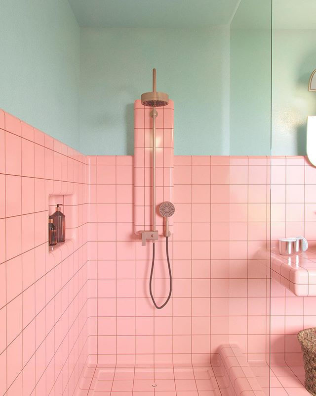 Ensuite bathroom designed (renovated) for a client in Mexico 🇲🇽☀️ with @dtile tiles. #utkangunerkan #dreamspace #bathroom #design