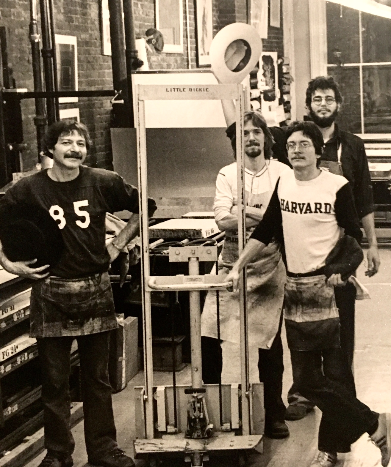 master printer, herb fox • peter o'sullivan • me • chris bonfatti • fox graphics, bromfield street, boston • 1978