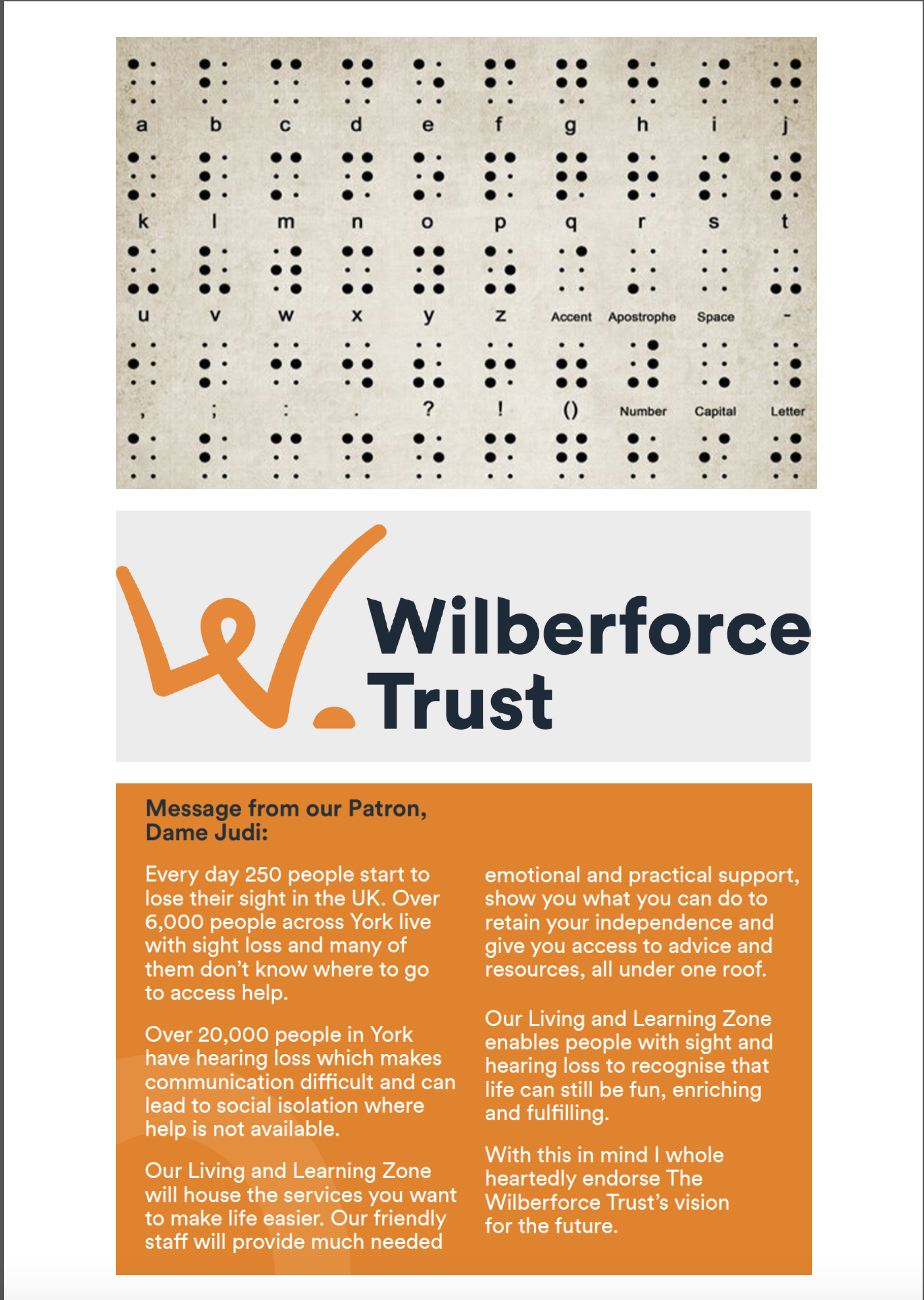 A message from the good people at Wilberforce who help the visually impaired, like my little girl.  Also, if you know anyone with a visual impairment, let them know that we have a Braille menu now. And we offer them a juicy discount too