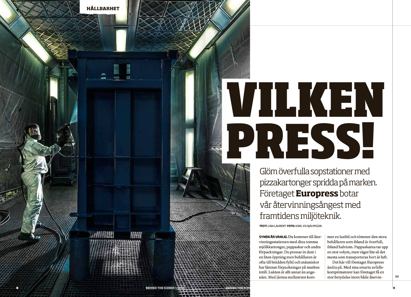 Artikel om företaget Europress. För Tibnors magasin  Behind The Scenes , 2016. Foto: K. Vilhjálmsson.