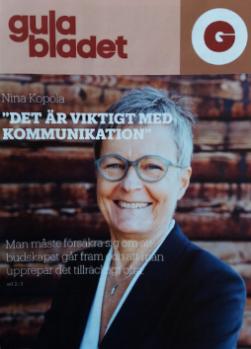 Personporträtt på Suominens vd Nina Kopola, i Gula Bladet 3/2016. Foto: Niklas Sandström.