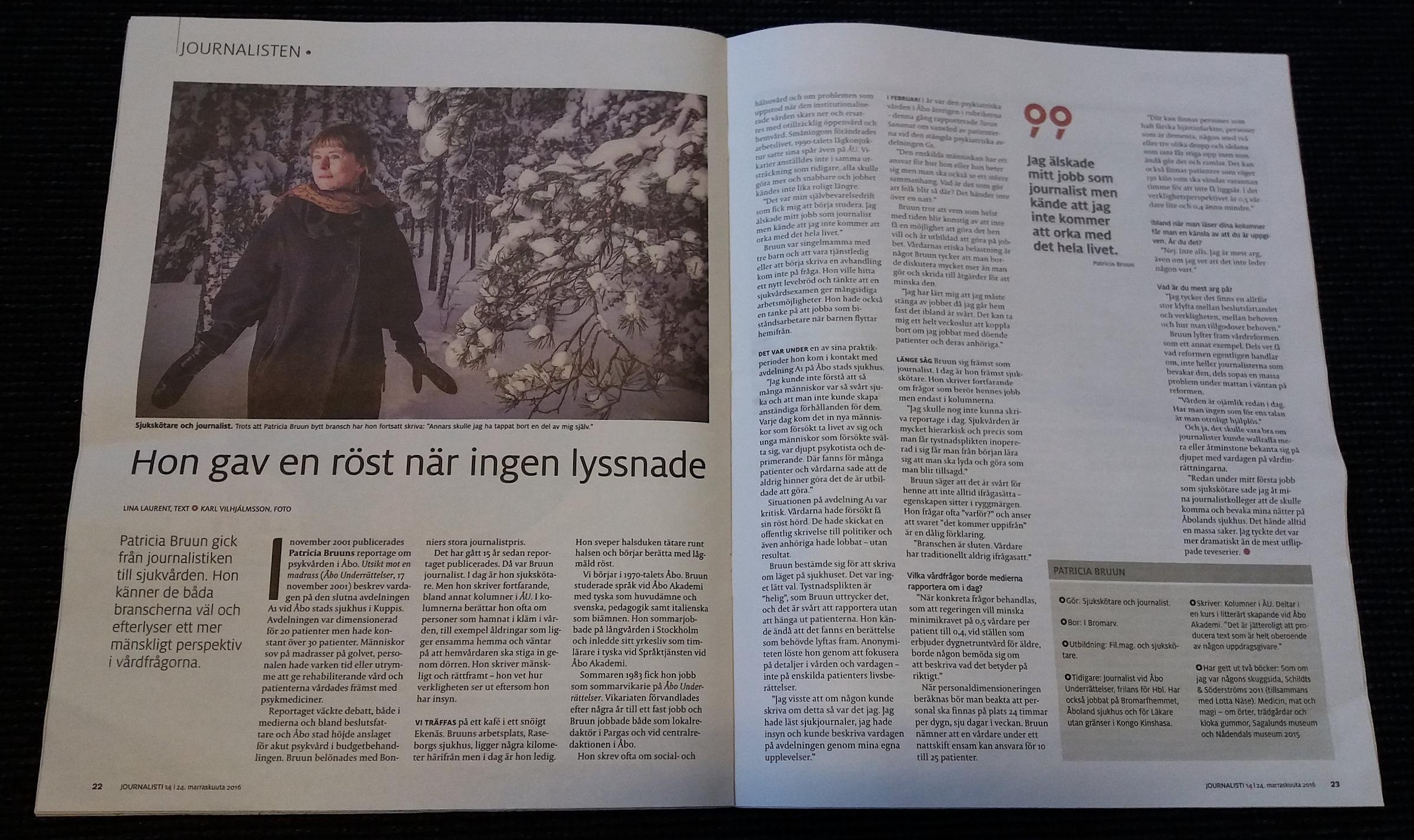 Personporträtt med sjukskötaren och journalisten Patricia Bruun. I  Journalisten  14/2016. Foto: Karl Vilhjálmsson.