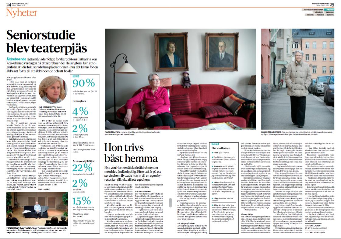 Intervju med Else von Hertzen, publicerad i  Hufvudstadsbladet  11 april 2017.