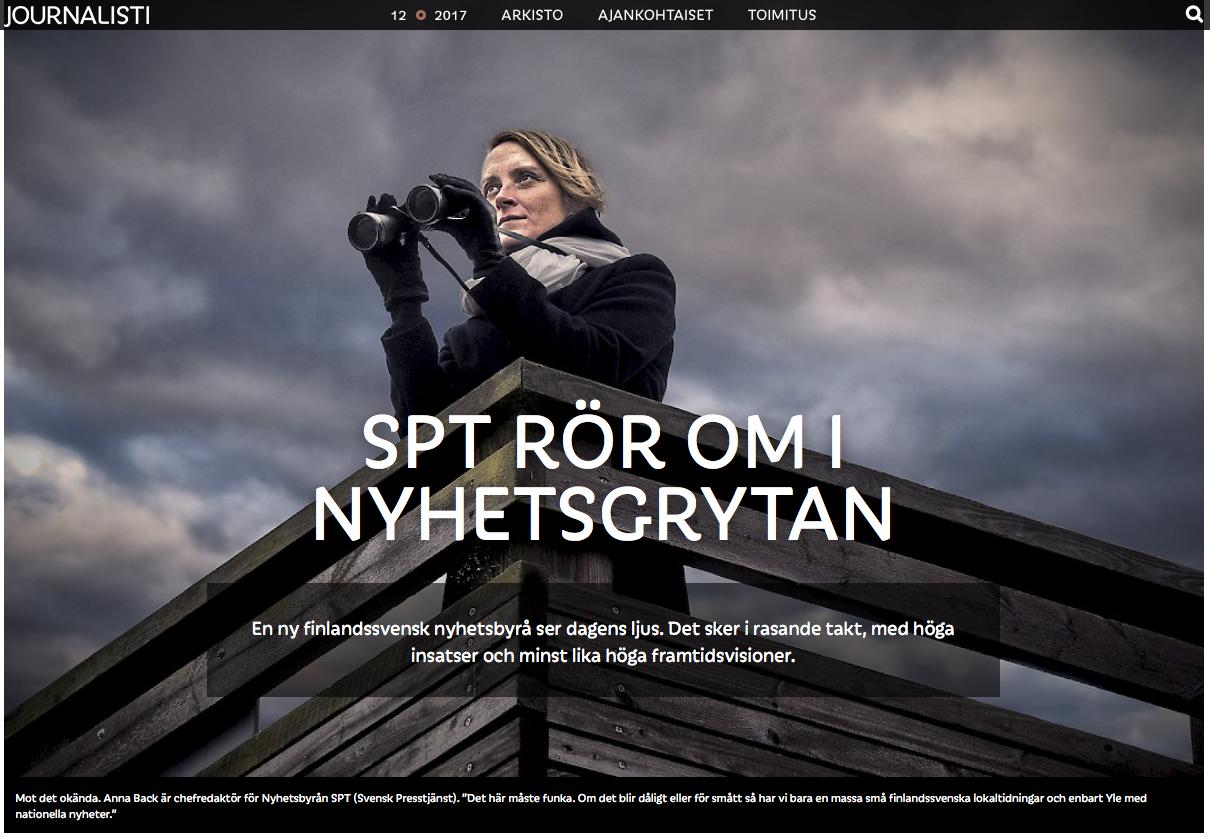 Reportage med flera delar om Nyhetsbyrån SPT och samarbetsförhandlingarna vid nyhetsbyrån FNB. I tidningen  Journalisten (12/2017) . Skärmbild från www.journalisti.fi. Fotograf: Karl Vilhjálmsson.