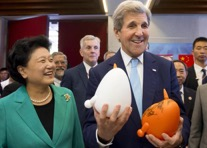 John Kerry, Madame Liu Yandong, Vice Premier of the People's Republic of China and US Ambassador to China Max Baucus (background) at the Young Maker Competition showcase during the 7th annual U.S.-China High-Level Consultation on People-to-People Exchange at the National Museum in Beijing , June 7, 2016. Photo Credit: Times of Malta