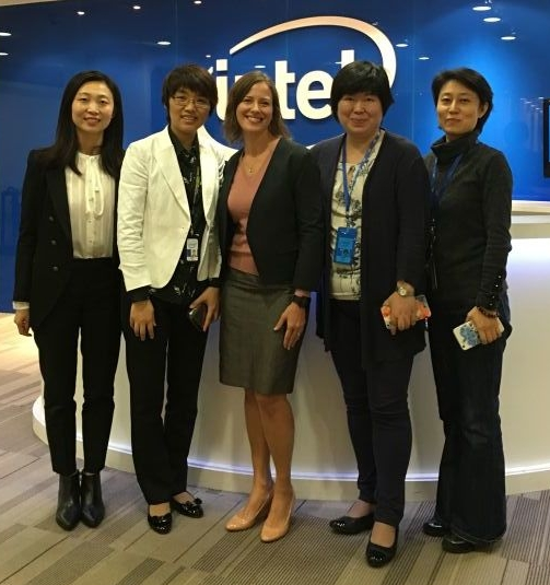 Julia Zhu, Director of Corporate Affairs; Nancy Yang, Director, Mass Makerspace Accelerator; Chelsea Collier; Carol Qin and Maggie Zhang both with the Corporate Affairs Group