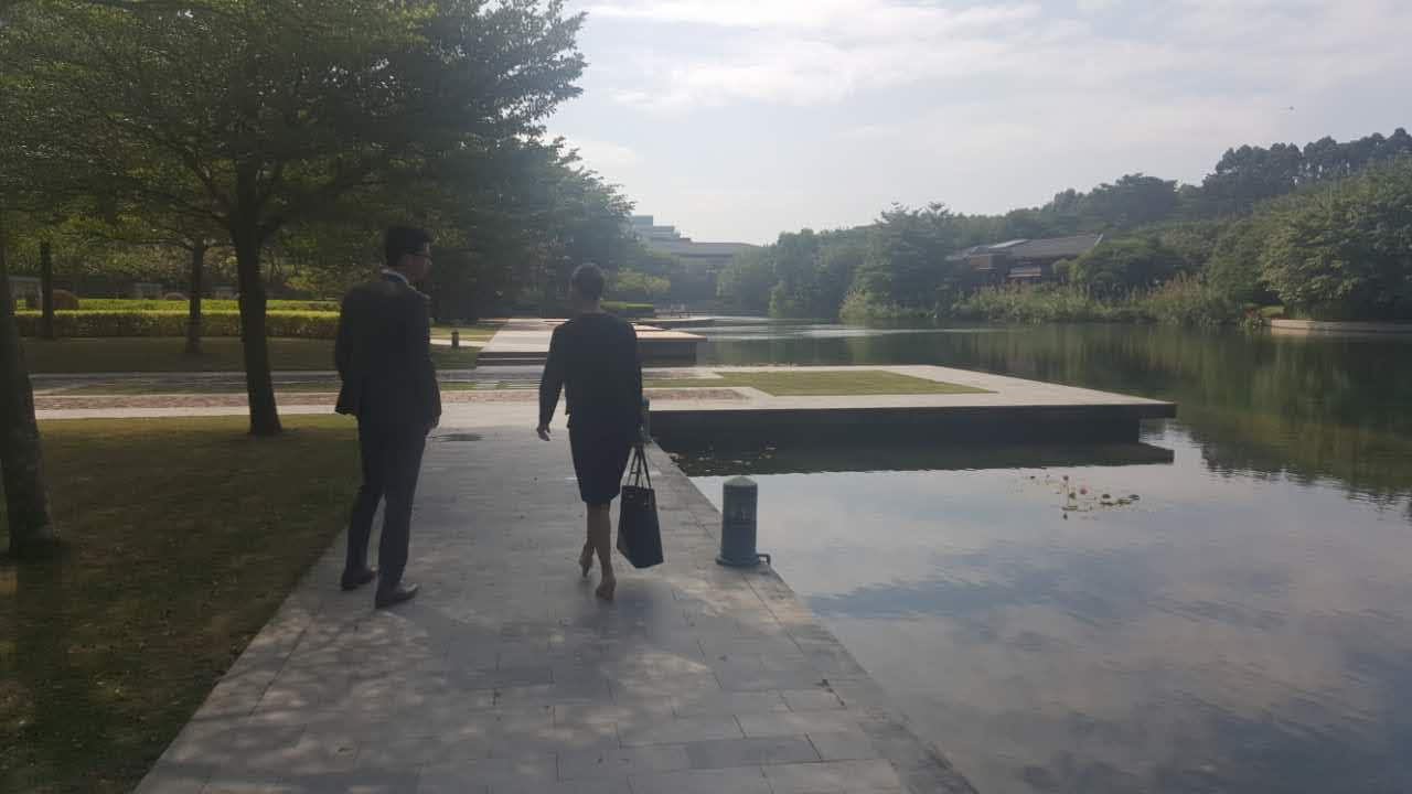 The Huawei R&D campus is stunning and serene