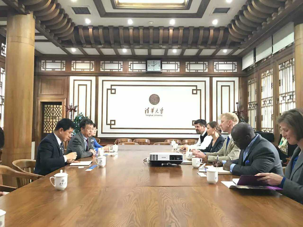 Meeting with top leadership at Tsinghua University