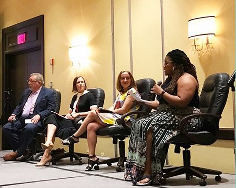"""The Truth of Telecom, 5G and Smart Communities"""" at NOBCO with Kristal High Taylor ( nFluence US),Jackie McCarthy (ctia),Chelsea Collier (Digi.City),Rick Cimermon (National Cable and Telecommunications Association - NCTA) . Photo cred: ctia"""