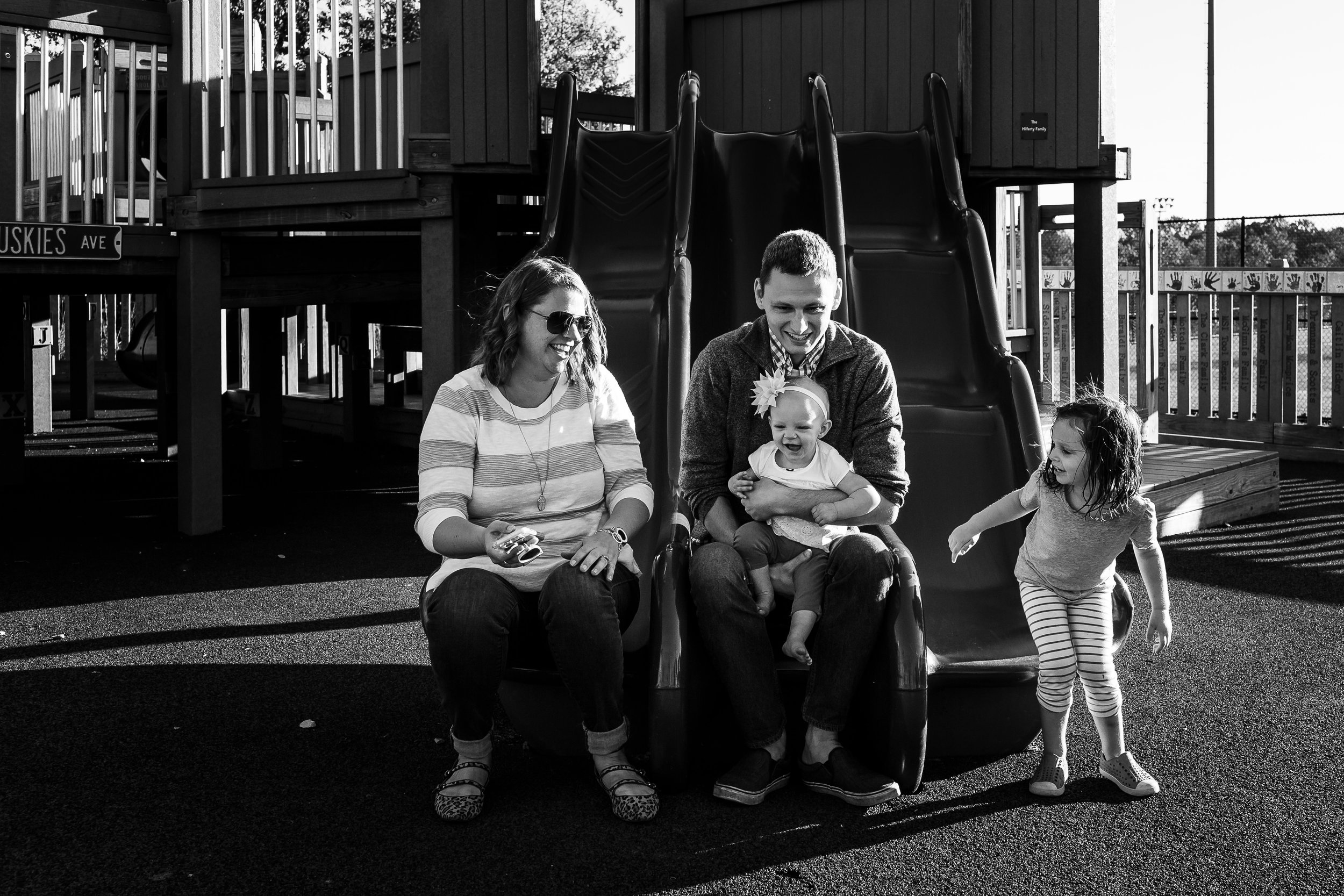 whole family on the slide