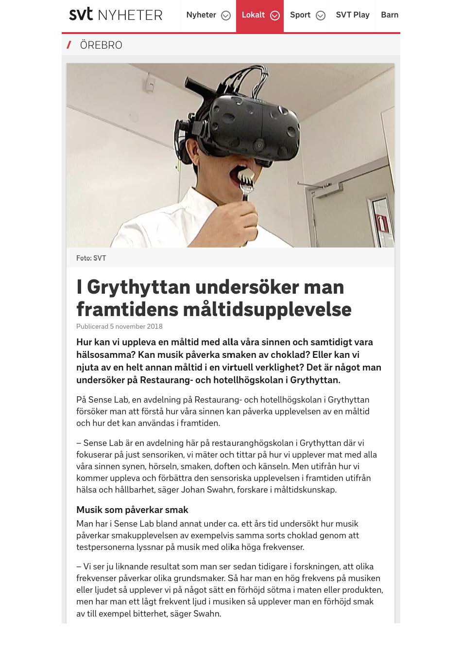 SVT, November 5, 2018