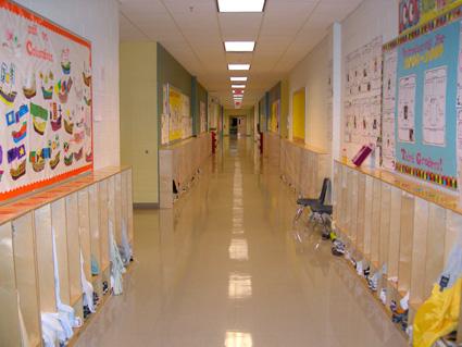 Lower grades hallways with cubbies.