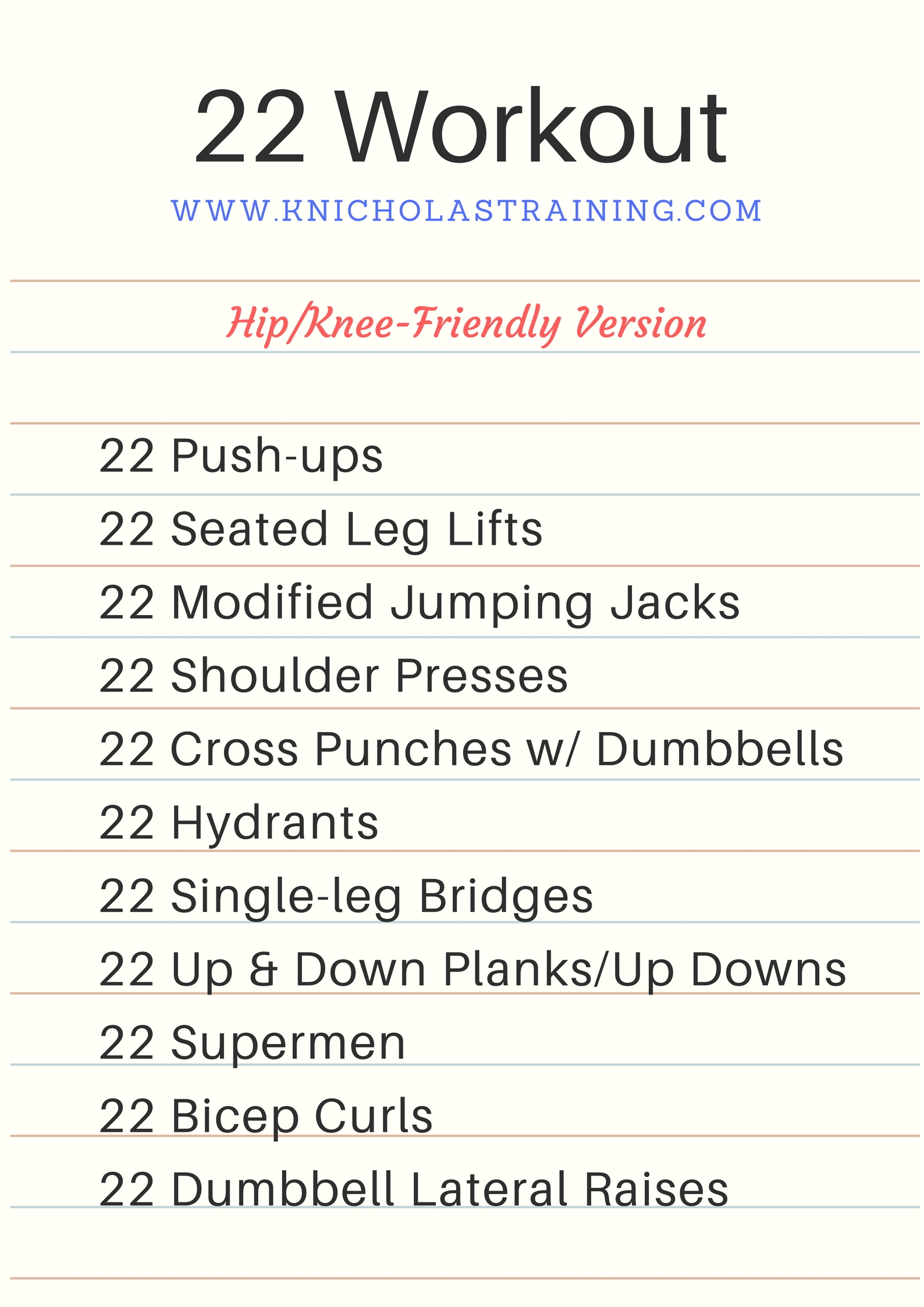 22 Rep Workout - Hip/Knee Friendly Version