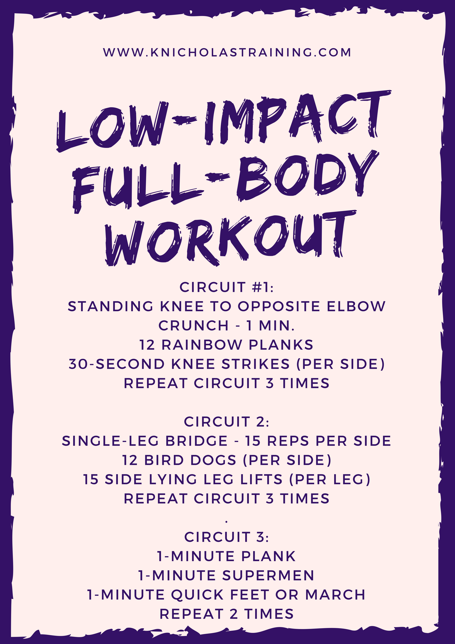 This workout is one of the most popular on my site! Click on the image for instructions on how to do the various movements.