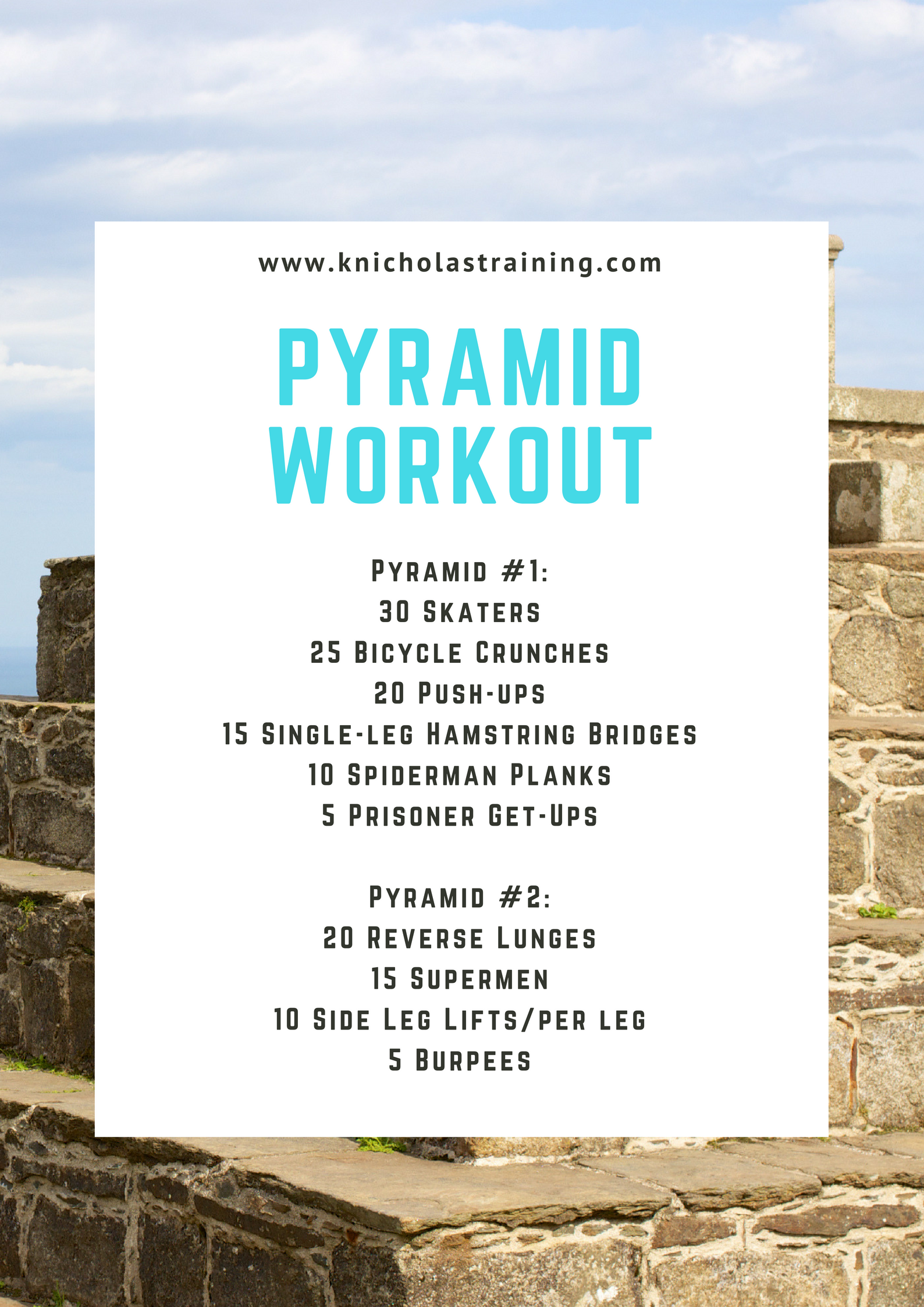This one is a great workout to get your heart rate up. Complete the list of exercises in the circuit, and then reverse back up the list repeating the movements again. Click on the image for more explanations on the movements and the workout.