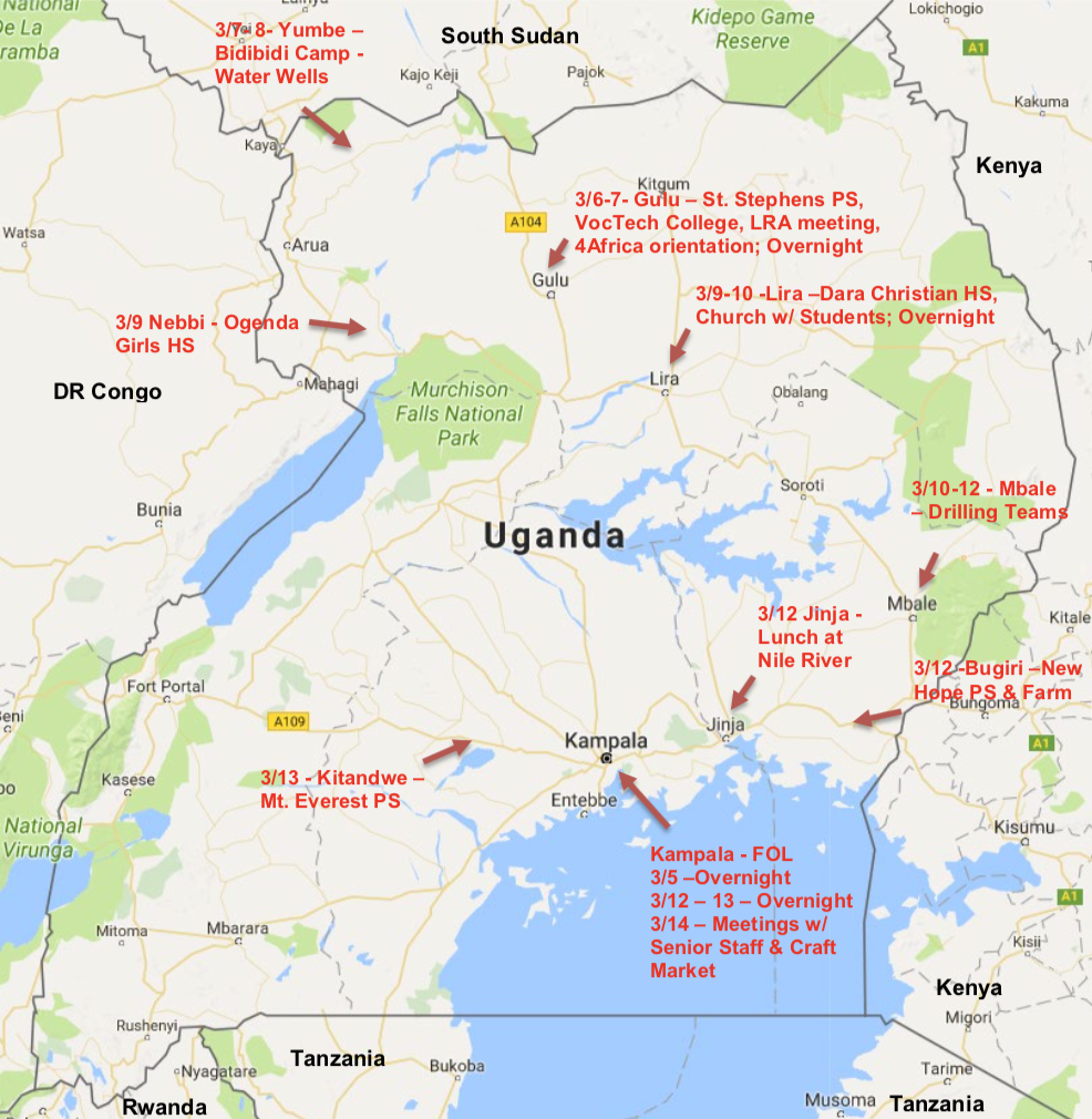 This map shows the different places we visted during our two weeks in Uganda~